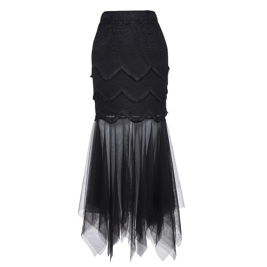 Long Trumpet Mesh Skirts For Women - The Black Ravens
