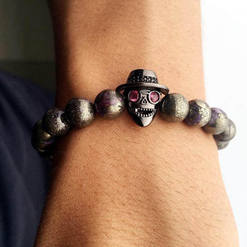 Men's Natural Metallic Bead Bracelet - The Black Ravens