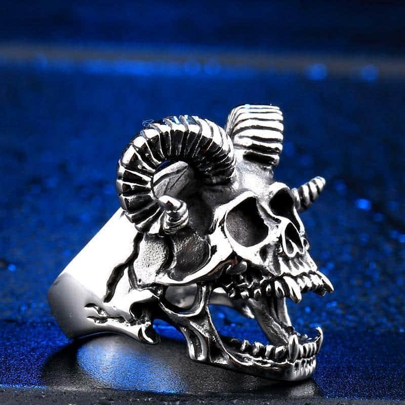 Occult Horned Devil Rings For Rocker Guys - The Black Ravens