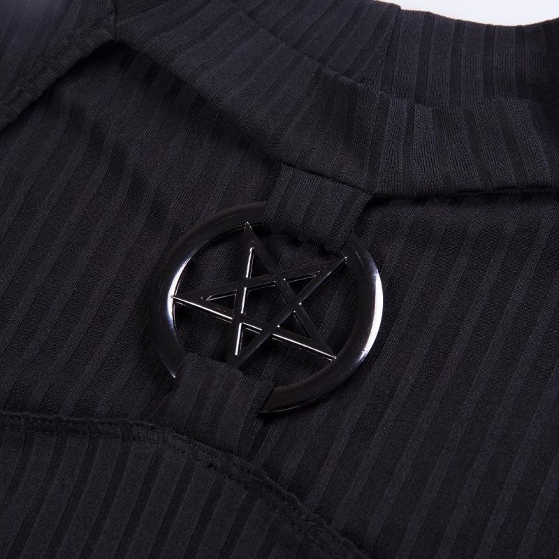 Pentagram Choker Ladies Punk Top - The Black Ravens