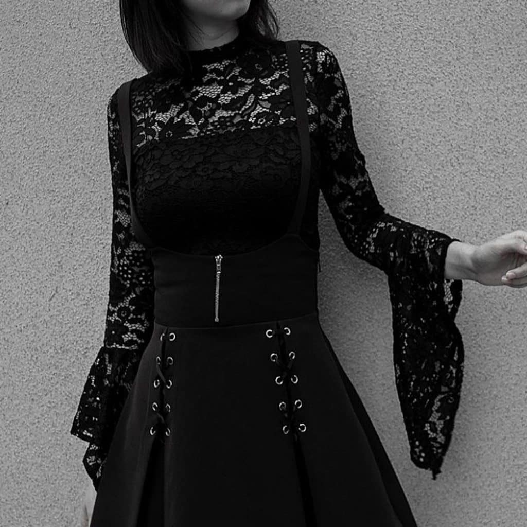 Unique Black Lace-up Zippered Pleated Skirt - The Black Ravens
