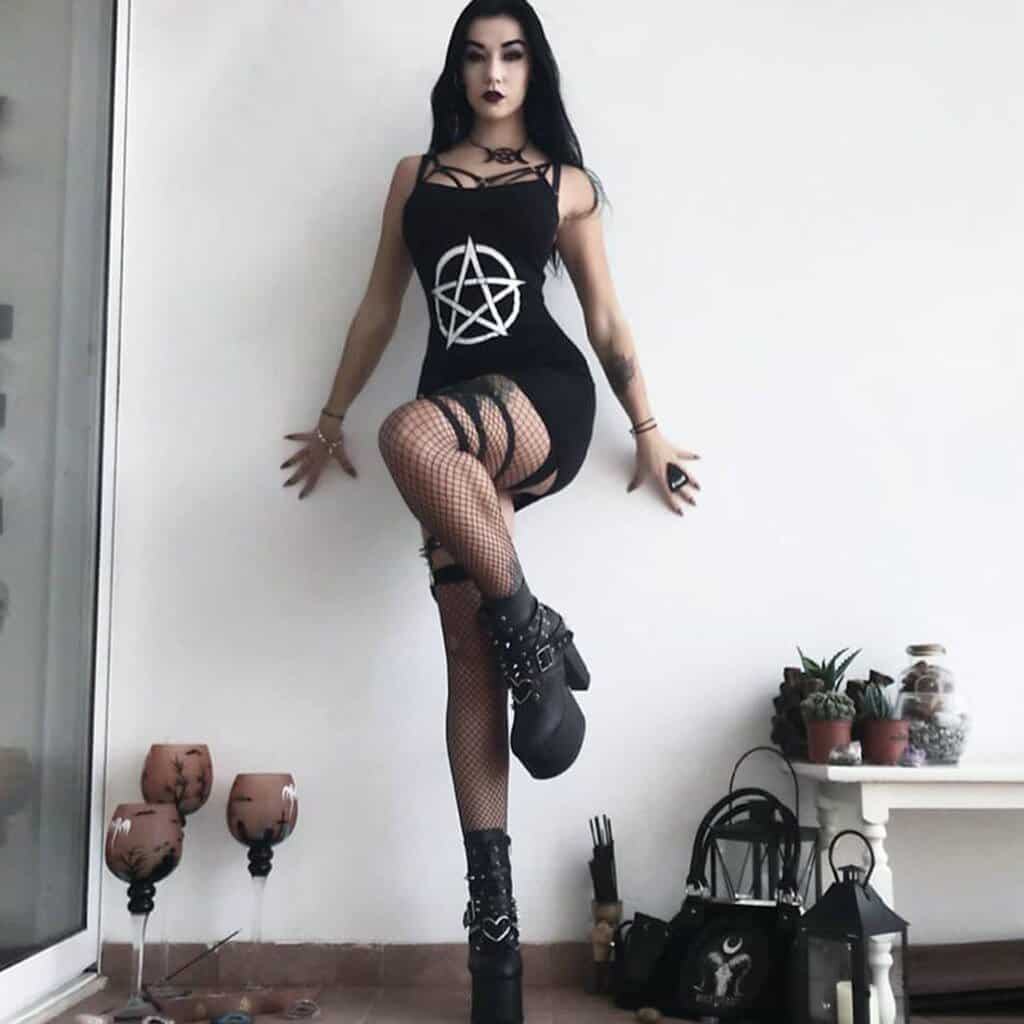 Sexy Five-Pointed Star Print Dress - The Black Ravens