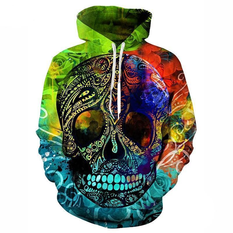 Psychedelic Sugar Skull Hoodie - The Black Ravens