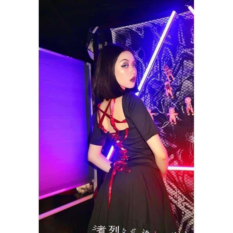 Punk Black Lace Up Ribbon Sexy Dress - The Black Ravens