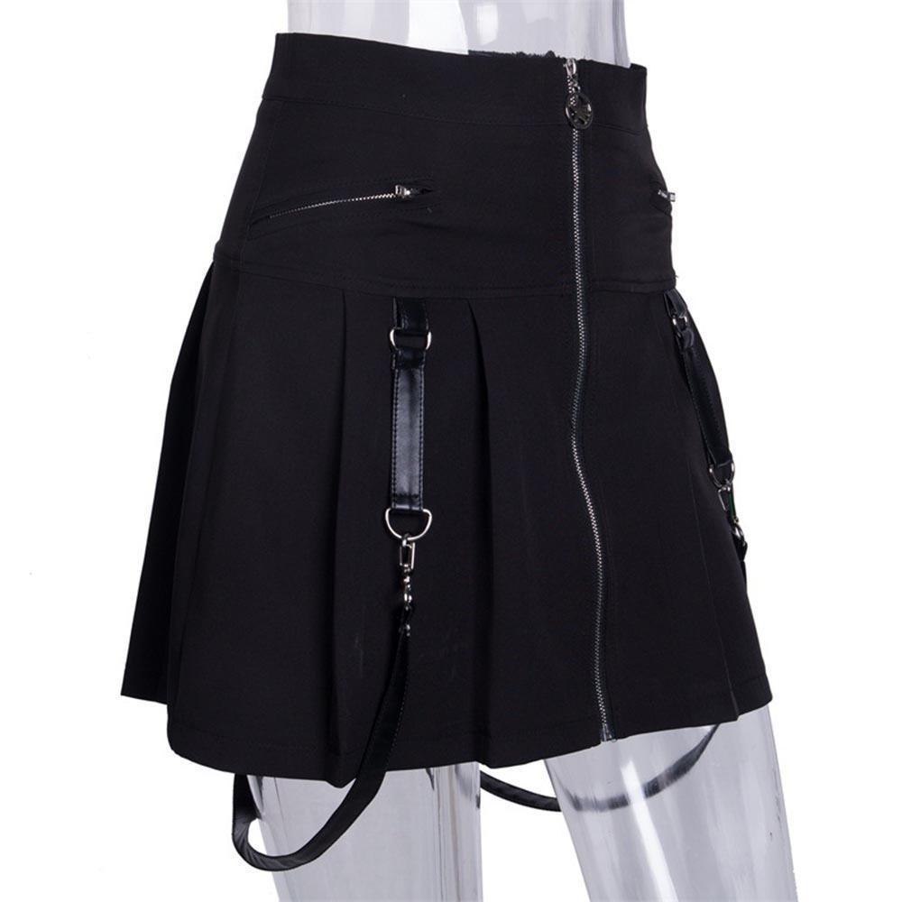 Punk Girls' Chic Pentagram Zippered Mini Skirt - The Black Ravens