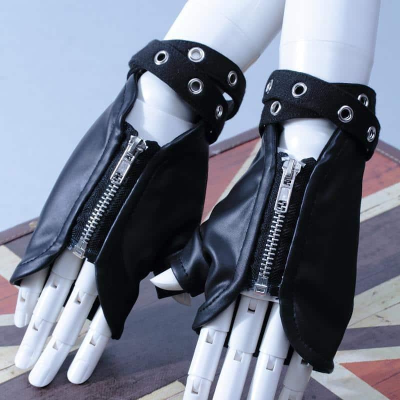Punk Leather Zippered Unisex Hand Gloves - The Black Ravens
