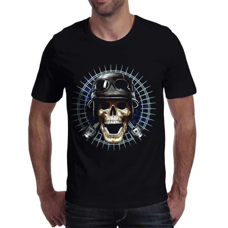 Punk Rock Skull With Hat T-Shirt - The Black Ravens