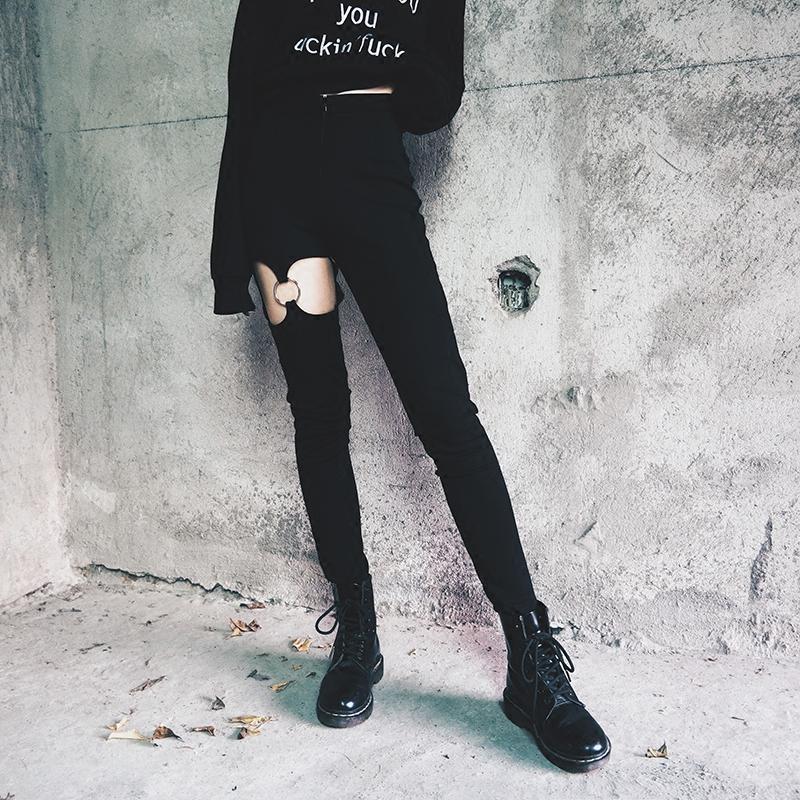 Punk Women's Leg Ring Pants - The Black Ravens