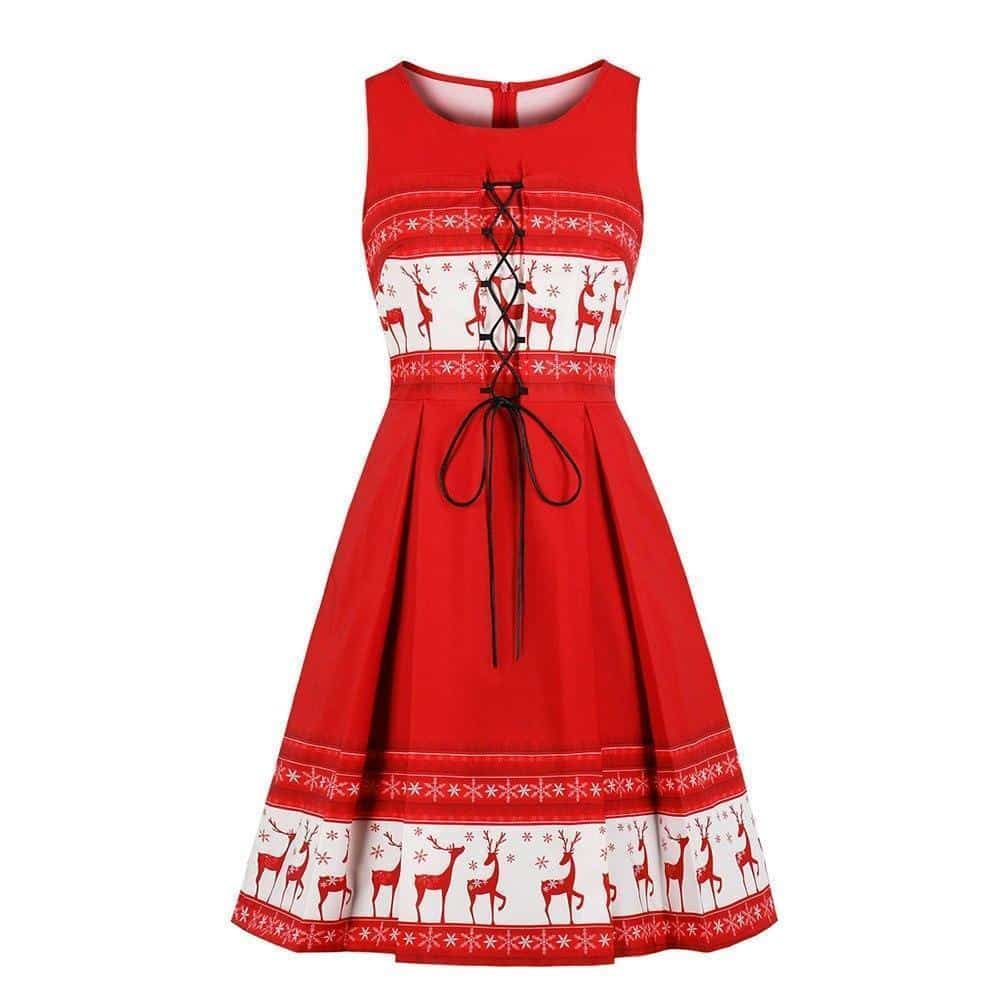 Red Reindeer Lace Up Christmas Dress - The Black Ravens