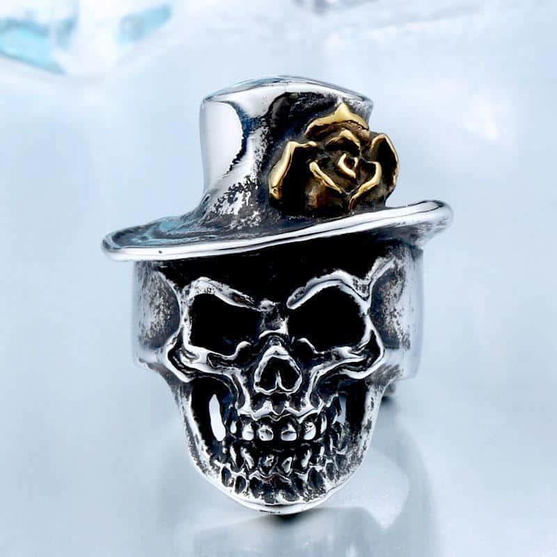 Rose Hat Silver Skeleton Head Band - The Black Ravens