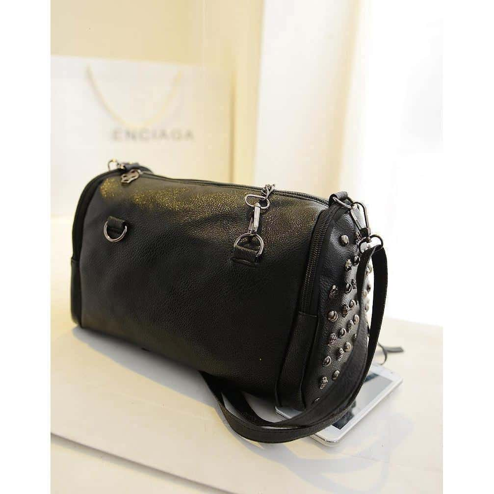 Sexy Faux Leather Skeleton Face Studded Bags - The Black Ravens