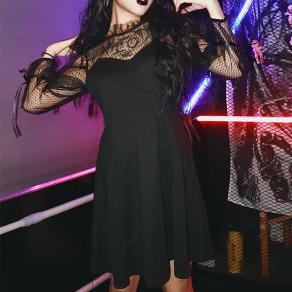 Sexy Mesh Bust Gothic Witch Black Dress - The Black Ravens