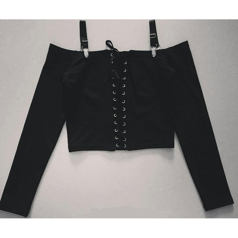 Sexy Off Shoulder Punk Crop Top - The Black Ravens