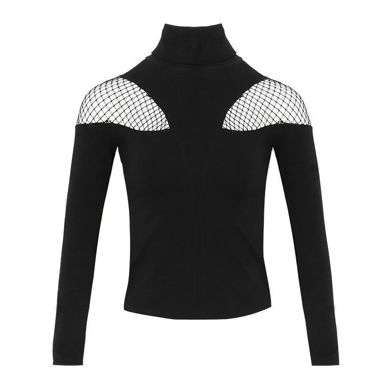 Sexy Yarn Stitched Shoulder Long Sleeve Tee - The Black Ravens