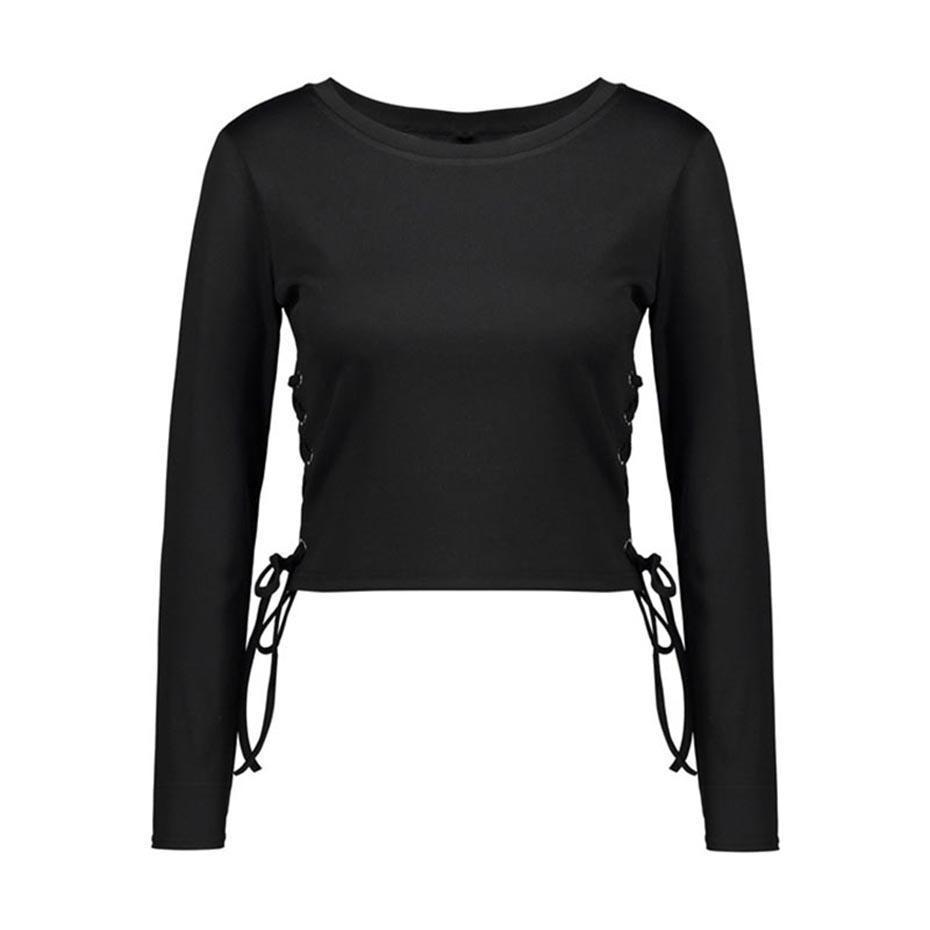 Short Tassel Long Sleeve Black Tops - The Black Ravens