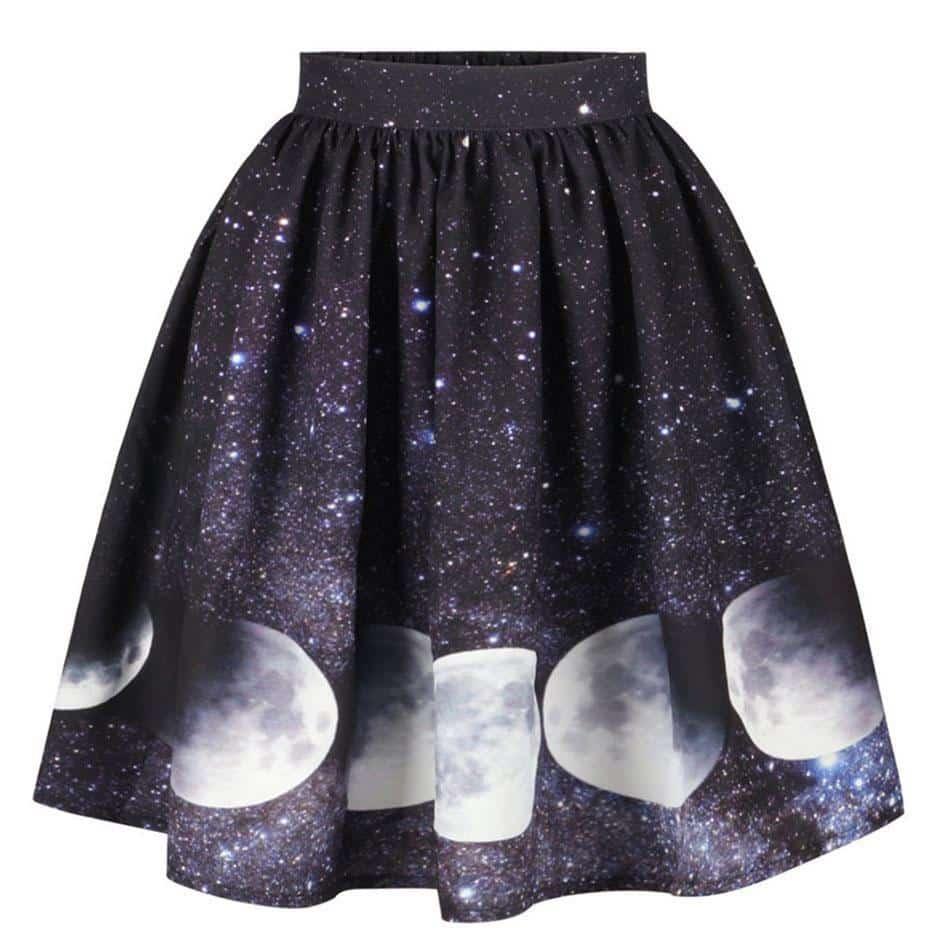 Solar Print Pastel Goth Skirt - The Black Ravens