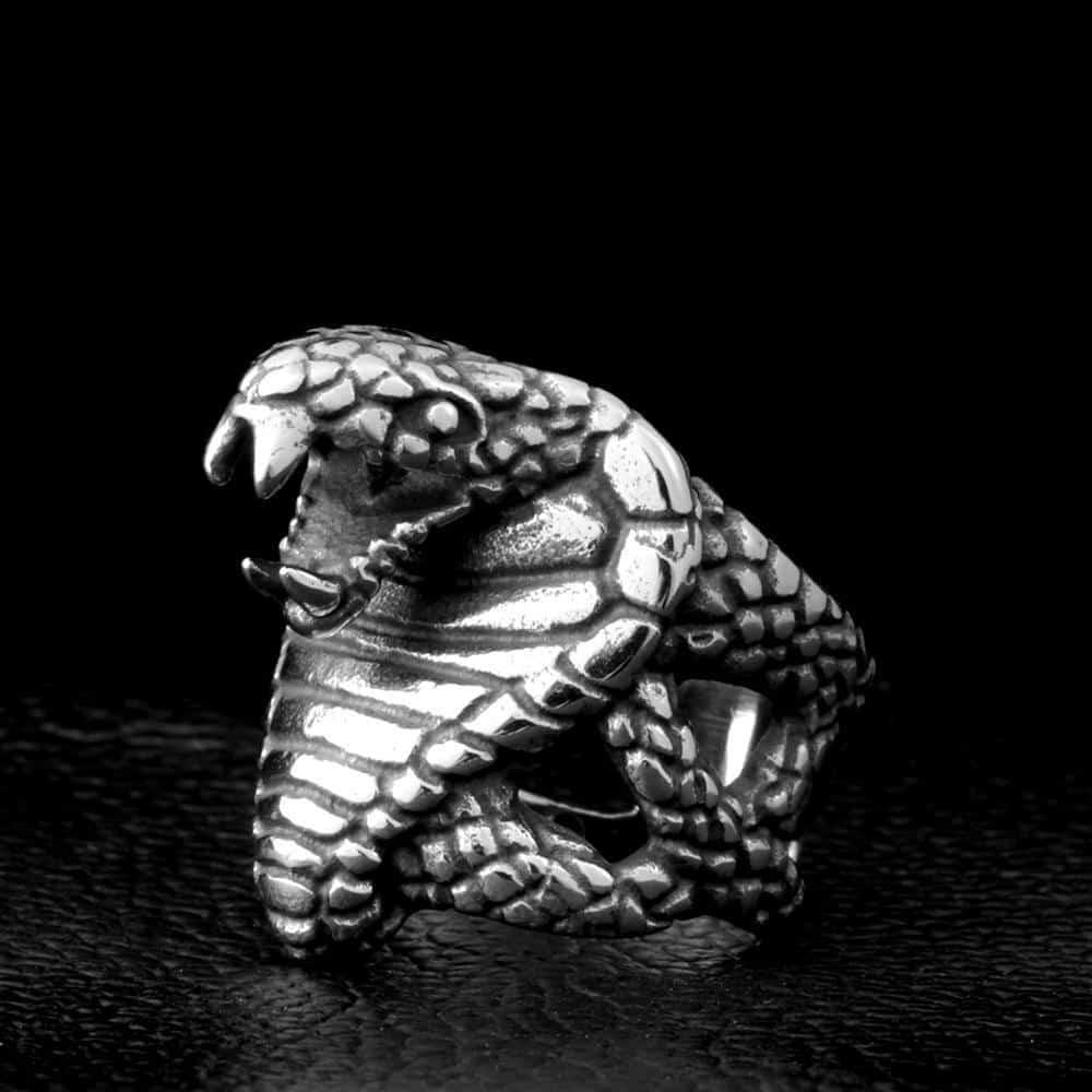 Stainless Steel Cobra Snake Punk Ring - The Black Ravens