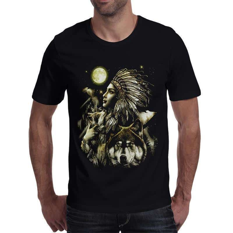 Stunning Realistic Native American Wolf Top - The Black Ravens