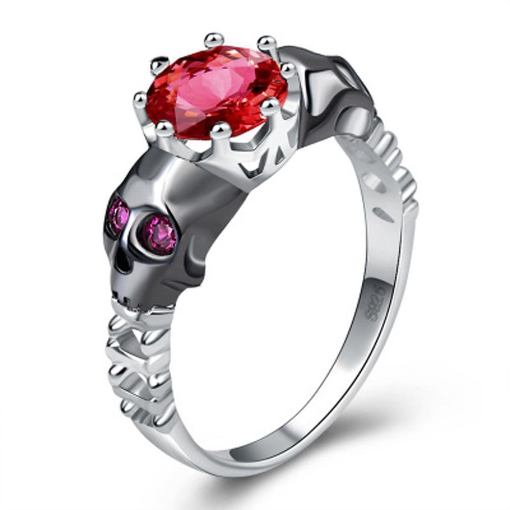 Stunning Stirling Silver Skull Rings With Rubies For Women - The Black Ravens