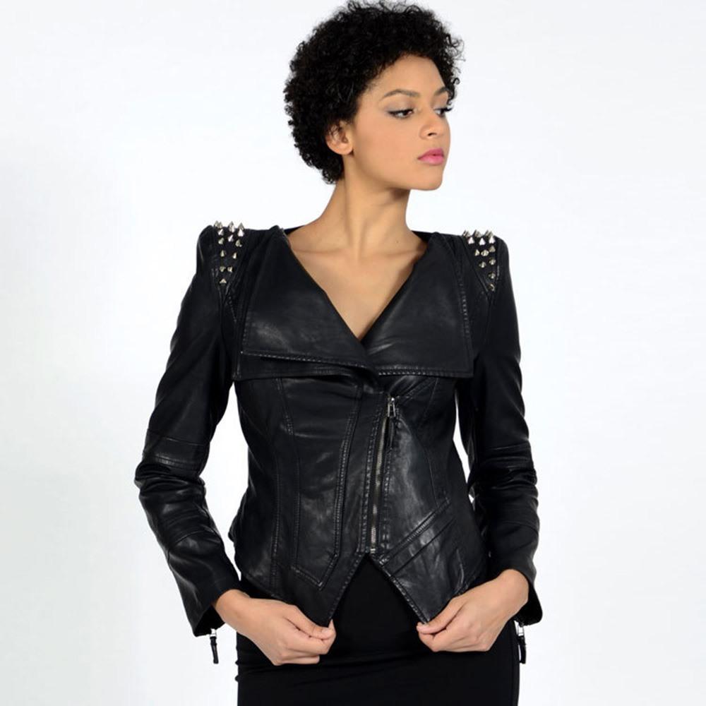 Stylish V-Neck Spiked Leather Jacket - The Black Ravens