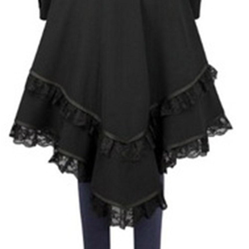 Vintage Asymmetrical Lace Long Coat - The Black Ravens