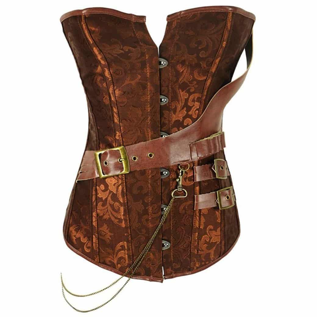 Vintage Traditional Look Brown Steampunk Shapewear Corset - The Black Ravens