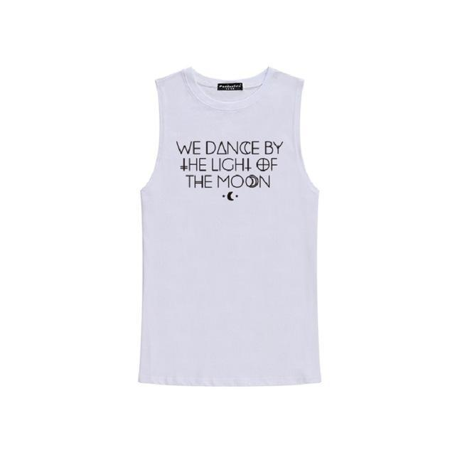 'WE DANCE BY THE LIGHT OF THE MOON' Sleeveless Tees - The Black Ravens