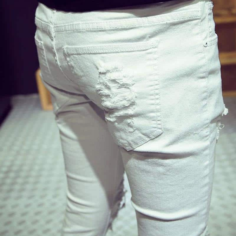 White Ripped Hollow Out Casual Pants For Men - The Black Ravens