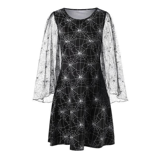 Witches' Spider Print Gothic Dress - The Black Ravens