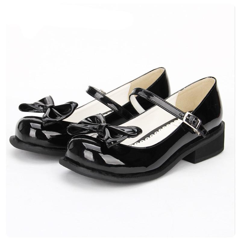 Women Shining Black Leather Low Heel Lolita Shoes - The Black Ravens