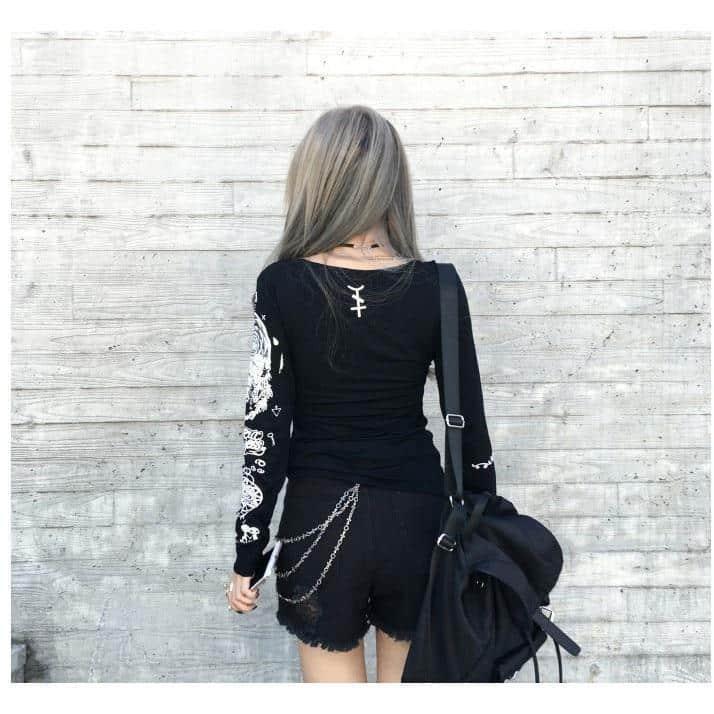 Women's Full Sleeve Casual Goth Tee - The Black Ravens