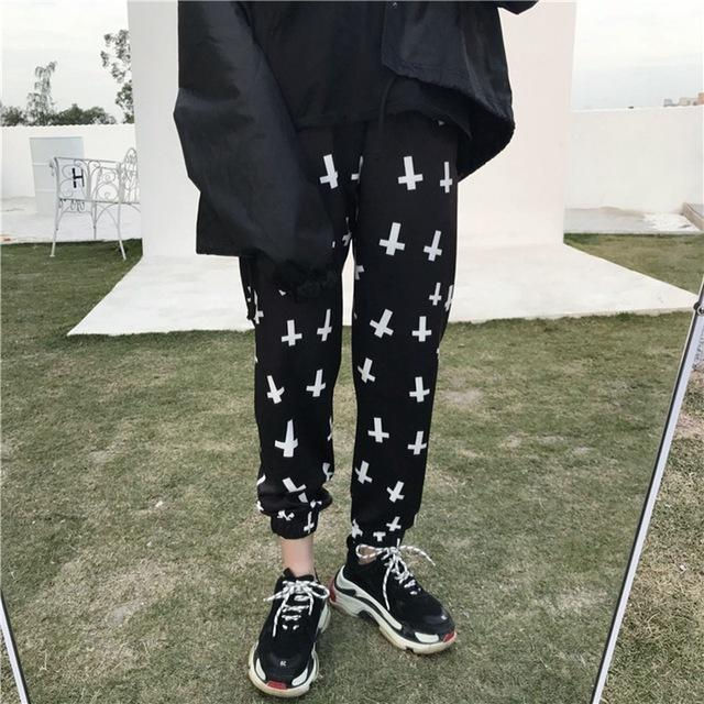 Women's Gothic Cross Printed Trousers - The Black Ravens