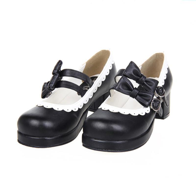 Women's Sweet Lolita Double Bow Shoes - The Black Ravens
